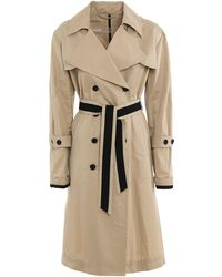 Add Cotton Blend Long Trench Coat - Natural