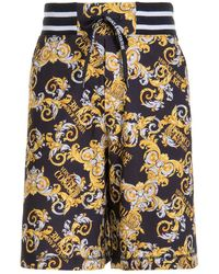 Versace Jeans Couture Baroque Print Bermuda Shorts - Black