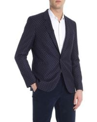 PS by Paul Smith - Blue Geometric Single Button Jacket - Lyst