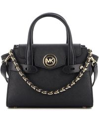 Michael Kors Carmen Extra-small Saffiano Leather Belted Satchel - Black