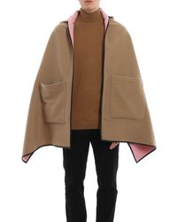 Burberry Wool Hooded Cape - Natural
