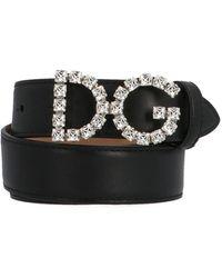 Dolce & Gabbana Dg Rhinestone Belt - Black