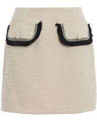 be Blumarine Bouclé Wool Blend Mini Skirt - Natural