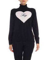 Fay Pullover collo alto nero con intarsio cuore