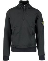 Stone Island High Collar Sweatshirt - Black