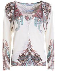 Blumarine Wool, Silk And Cashmere Blend Twinset - White