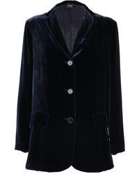 Aspesi Velvet Single-breasted Jacket - Blue