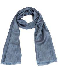 Brioni Herringbone Silk Scarf - Blue