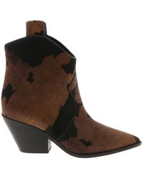 Casadei - Black And Brown Calf Hair Texan Ankle Boots - Lyst
