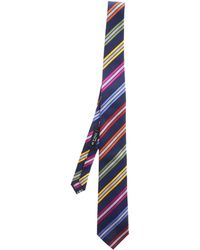 Etro Blue Tie With Colored Stripes