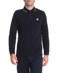 Moncler - Blue Long Sleeve Polo - Lyst