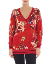 Twin Set - Red Floral Printed Pullover - Lyst