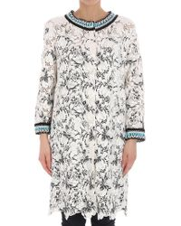 Ermanno Scervino - White Lace Overcoat With Black Embroidery - Lyst