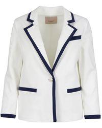 Twin Set Viscose Blend Blazer - White