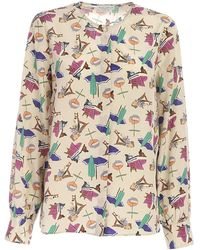 Ballantyne Contrasting Print Shirt - Natural