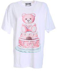 Moschino - T-Shirt Maxi Stampa Cake Teddy Bear Bianca - Lyst
