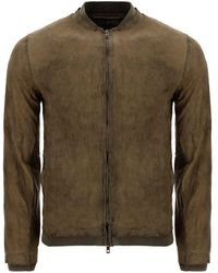 Salvatore Santoro Vintage Effect Leather Bomber Jacket - Green