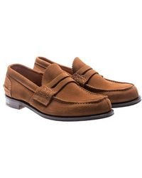 Church's - Brown Suede Pembrey Loafers - Lyst