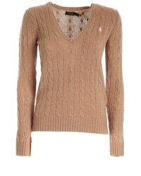 Polo Ralph Lauren - Pullover Scollo A V Color Cammello Con Logo - Lyst