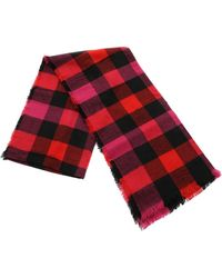 Woolrich Check Print Scarf - Red