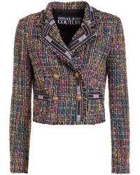 Versace Jeans Couture Tweed Crop Blazer - Multicolour