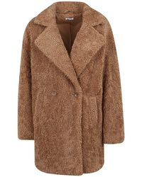 P.A.R.O.S.H. Faux Fur Coat - Brown