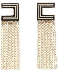 Elisabetta Franchi Dangling Fringed Earrings - Metallic