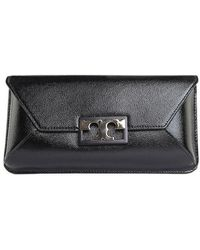 Tory Burch - Black Gigi Leather Clutch - Lyst