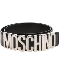Moschino - Black Belt With Logo - Lyst