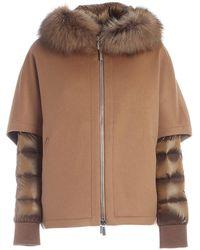 Moorer Pegaso-cwr Brown Down Jacket Featuring Hood