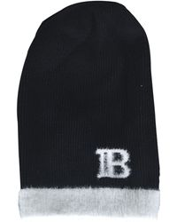 Balmain Contrasting Logo Beanie - Black