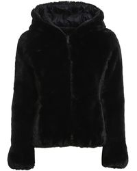 Save The Duck Eco Fur And Nylon Reversible Down Jacket - Black
