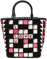 Lulu Guinness Handbag Crossword Bibi In Black And White