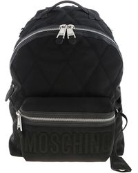Moschino Black Quilted Backpack With Logo