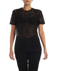 N°21 Lace T-shirt With Jewelled Patch - Black