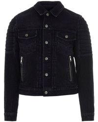 Balmain Denim Biker Jacket - Black