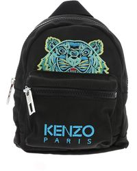 KENZO Tiger Embroidered Logo Nylon Backpack - Black