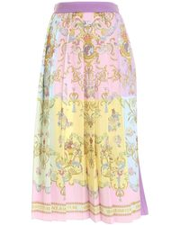 Versace Jeans Couture Versailles Print Multicolour Pleated Skirt