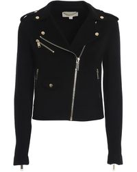 Michael Kors Wool Blend Biker Jacket - Black