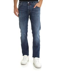 Jacob Cohen Jeans In Blue Colour With Red And Burgundy Logo