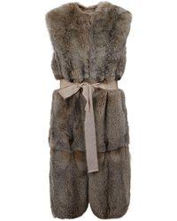 P.A.R.O.S.H. Fox Fur Long Waistcoat - Natural