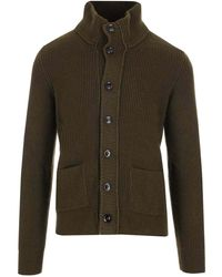 Tom Ford Cardigan A Coste Verde Militare