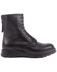 Woolrich Zipped Leather Combat Boots - Black