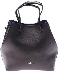 Hogan - Black And Blue Hammered Leather Bag - Lyst