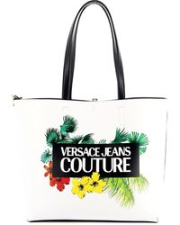 Versace Jeans Tropical Printed Faux Leather Tote - White