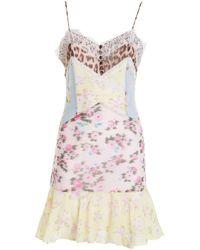 Blumarine Lace Trim Printed Silk Dress - Multicolour