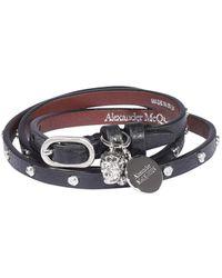 Alexander McQueen Double Wrap Bracelet - Black