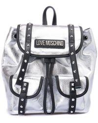Love Moschino Studded Strap Metallic Backpack