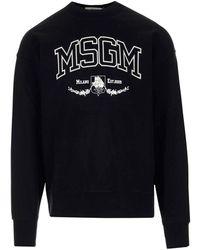 MSGM Maglione Nero Con Logo