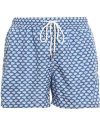 Fedeli Printed Nylon Swim Shorts - Blue